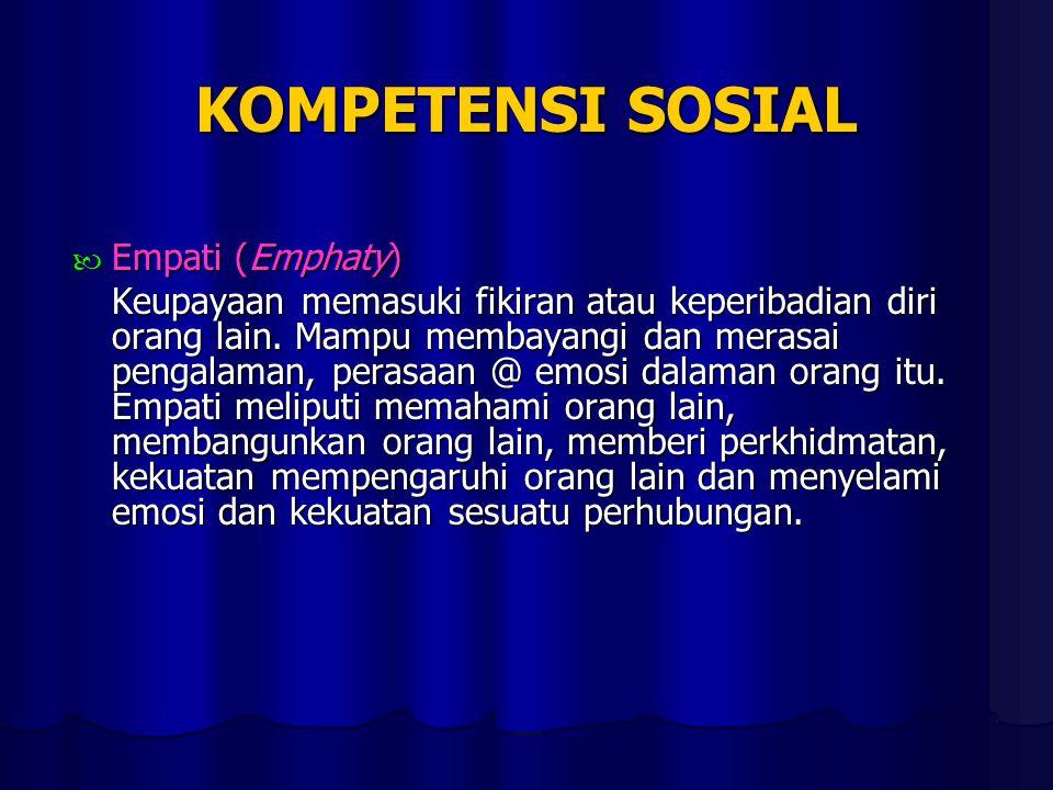 KOMPETENSI SOSIAL Empati (Emphaty) Empati (Emphaty) Keupayaan memasuki fikiran atau keperibadian diri orang lain.