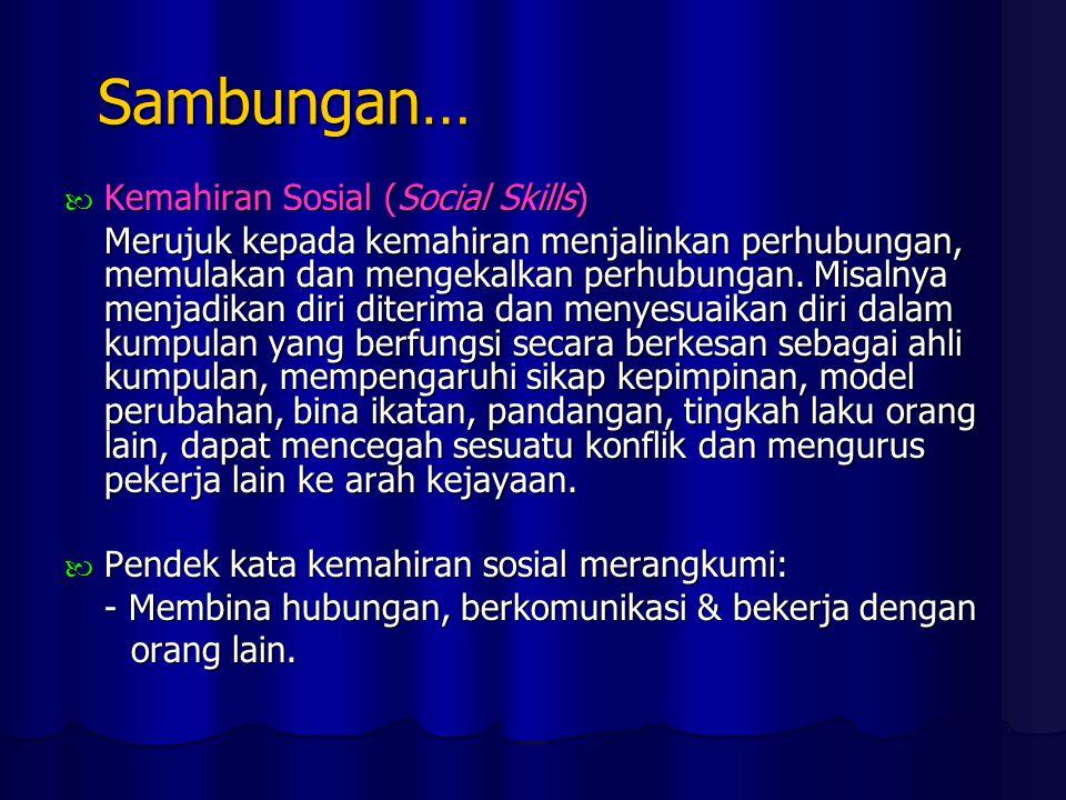 Sambungan… Kemahiran Sosial (Social Skills) Kemahiran Sosial (Social Skills) Merujuk kepada kemahiran menjalinkan perhubungan, memulakan dan mengekalkan perhubungan.