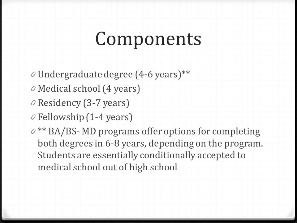 Components 0 Undergraduate degree (4-6 years)** 0 Medical school (4 years) 0 Residency (3-7 years) 0 Fellowship (1-4 years) 0 ** BA/BS- MD programs of