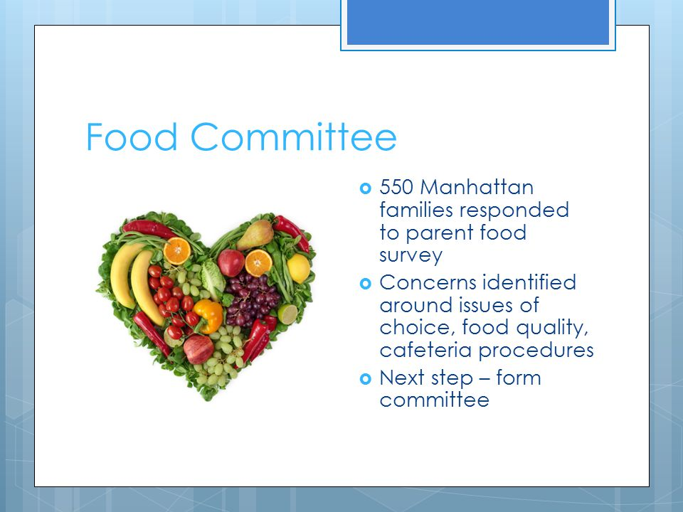 Food Committee  550 Manhattan families responded to parent food survey  Concerns identified around issues of choice, food quality, cafeteria procedures  Next step – form committee