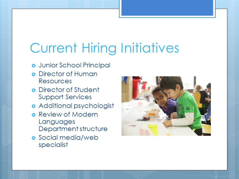 Current Hiring Initiatives  Junior School Principal  Director of Human Resources  Director of Student Support Services  Additional psychologist 
