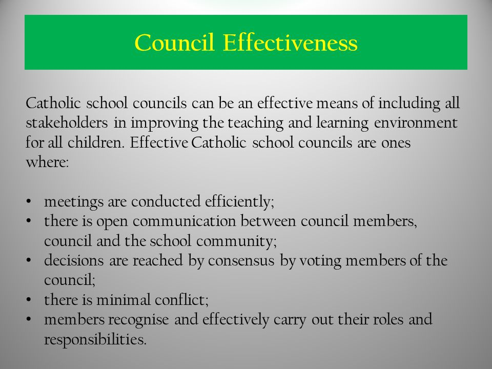 Catholic school councils can be an effective means of including all stakeholders in improving the teaching and learning environment for all children.