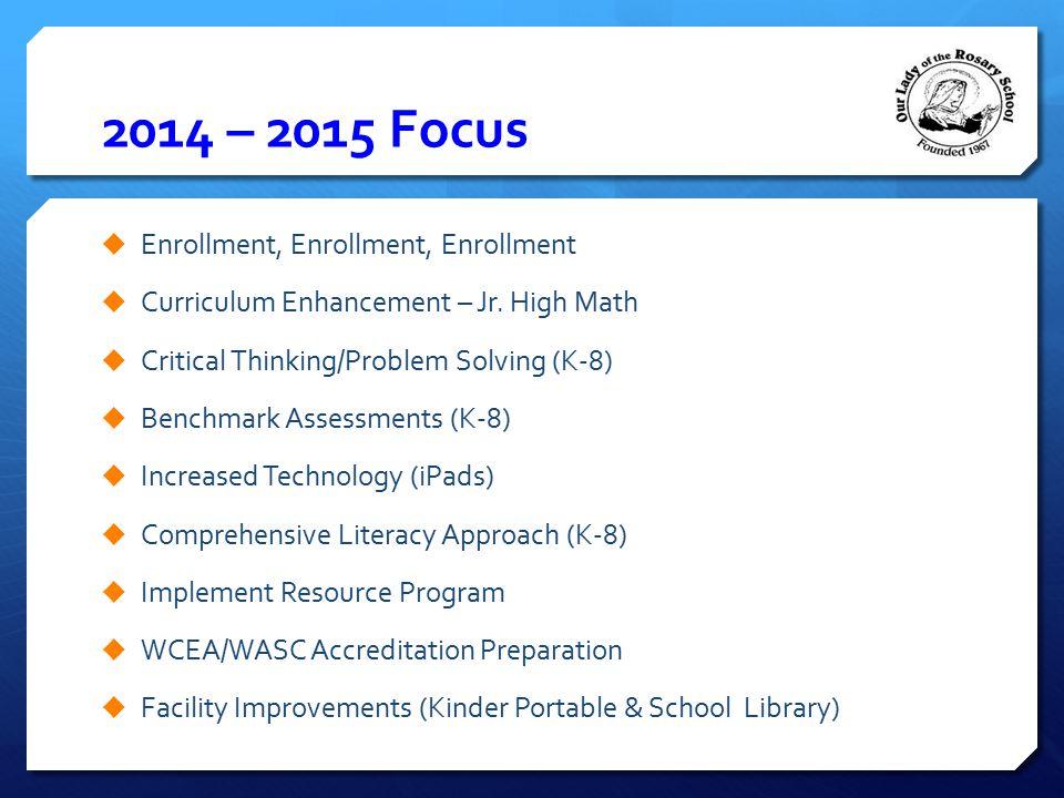 2014 – 2015 Focus  Enrollment, Enrollment, Enrollment  Curriculum Enhancement – Jr. High Math  Critical Thinking/Problem Solving (K-8)  Benchmark