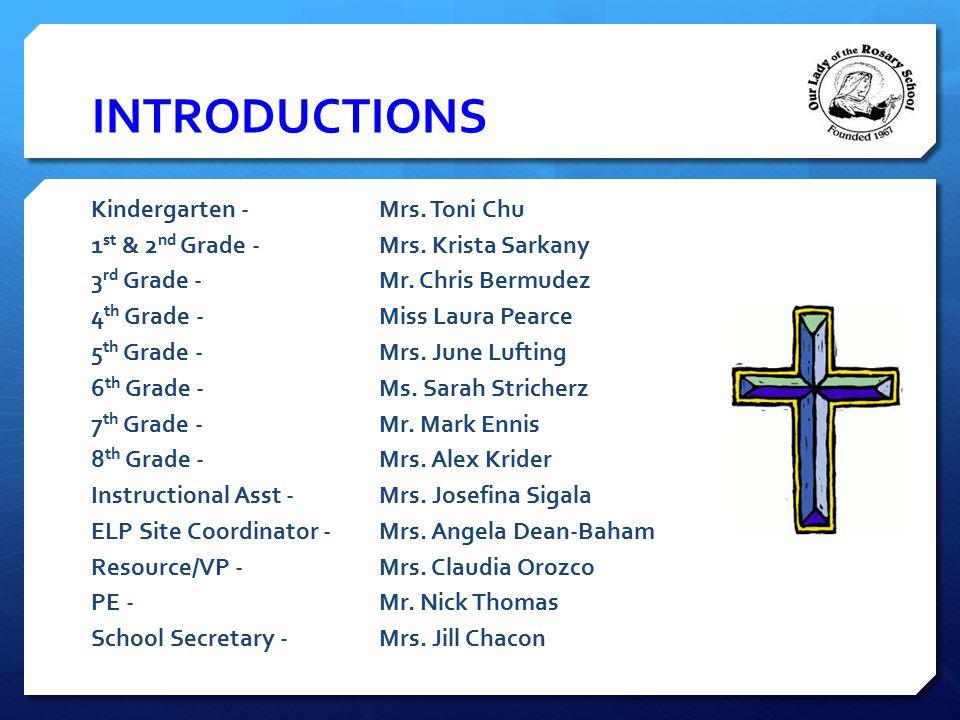 INTRODUCTIONS Kindergarten -Mrs. Toni Chu 1 st & 2 nd Grade - Mrs. Krista Sarkany 3 rd Grade - Mr. Chris Bermudez 4 th Grade - Miss Laura Pearce 5 th