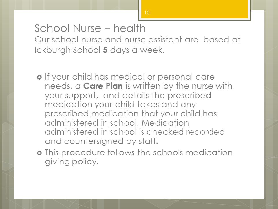 School Nurse – health Our school nurse and nurse assistant are based at Ickburgh School 5 days a week.  If your child has medical or personal care ne