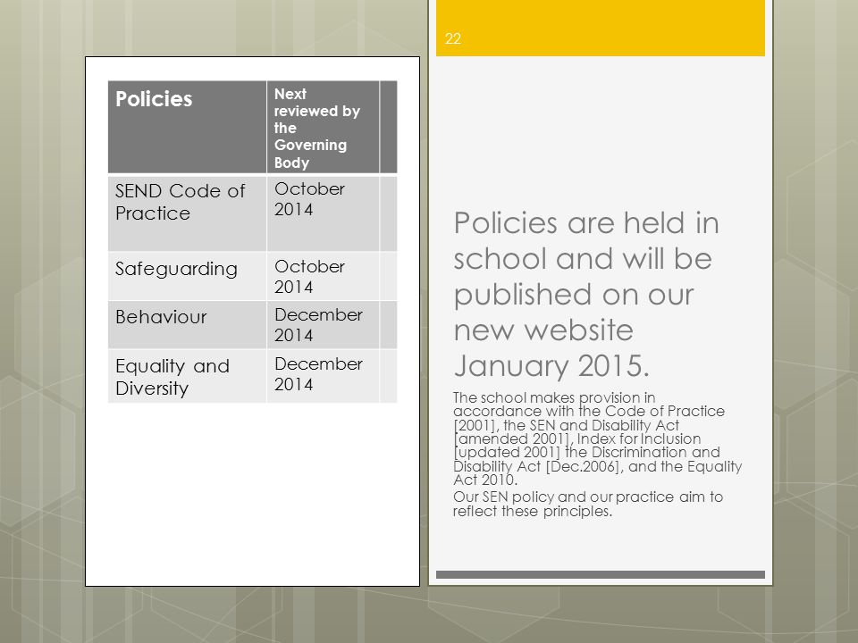 Policies Next reviewed by the Governing Body SEND Code of Practice October 2014 Safeguarding October 2014 Behaviour December 2014 Equality and Diversi