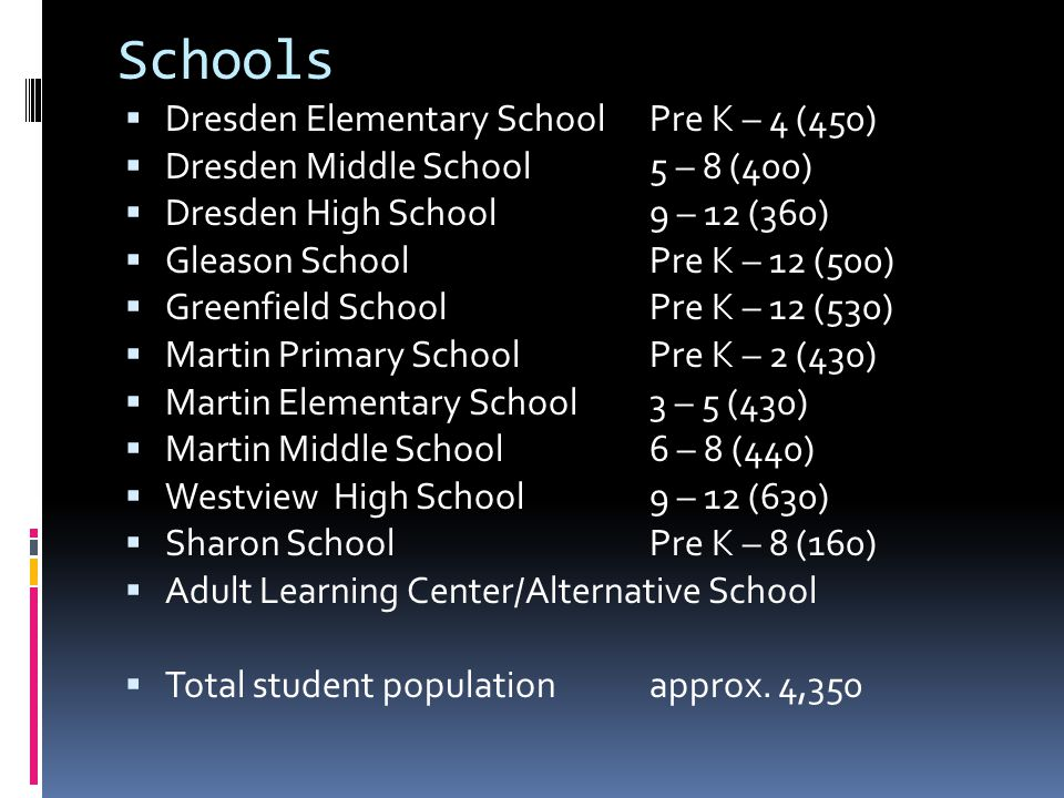 Schools  Dresden Elementary School Pre K – 4 (450)  Dresden Middle School 5 – 8 (400)  Dresden High School 9 – 12 (360)  Gleason School Pre K – 12 (500)  Greenfield SchoolPre K – 12 (530)  Martin Primary School Pre K – 2 (430)  Martin Elementary School 3 – 5 (430)  Martin Middle School 6 – 8 (440)  Westview High School9 – 12 (630)  Sharon School Pre K – 8 (160)  Adult Learning Center/Alternative School  Total student population approx.