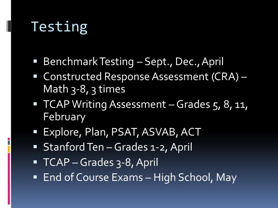 Testing  Benchmark Testing – Sept., Dec., April  Constructed Response Assessment (CRA) – Math 3-8, 3 times  TCAP Writing Assessment – Grades 5, 8, 11, February  Explore, Plan, PSAT, ASVAB, ACT  Stanford Ten – Grades 1-2, April  TCAP – Grades 3-8, April  End of Course Exams – High School, May