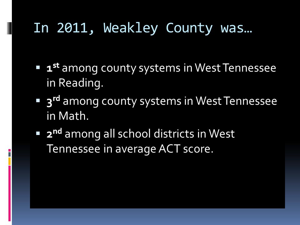 In 2011, Weakley County was…  1 st among county systems in West Tennessee in Reading.