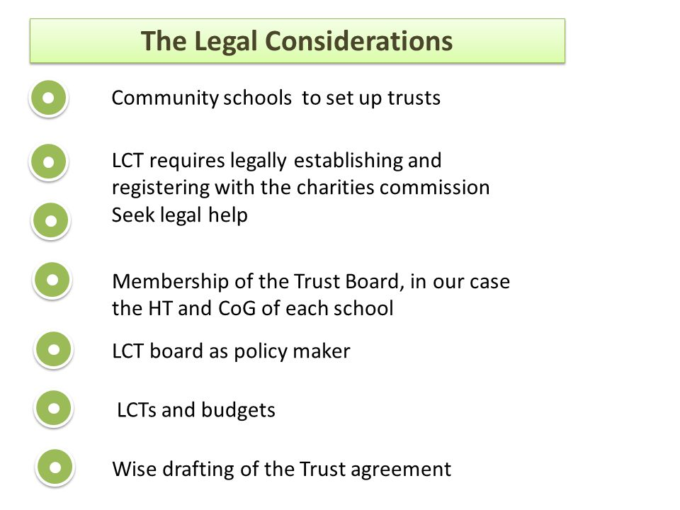 The Legal Considerations Community schools to set up trusts LCT requires legally establishing and registering with the charities commission Seek legal