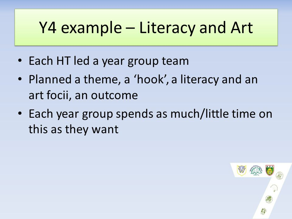 Y4 example – Literacy and Art Each HT led a year group team Planned a theme, a 'hook', a literacy and an art focii, an outcome Each year group spends