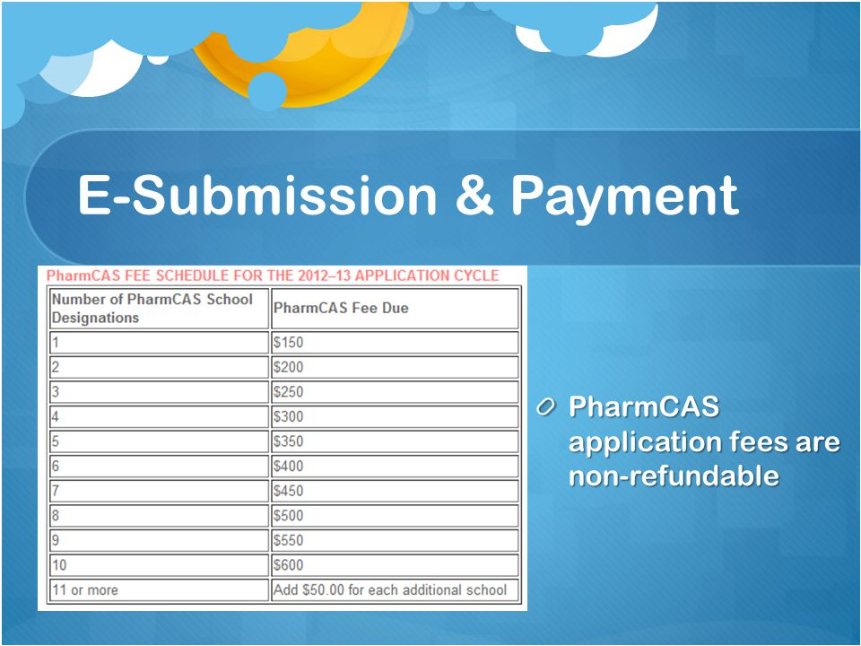 E-Submission & Payment PharmCAS application fees are non-refundable
