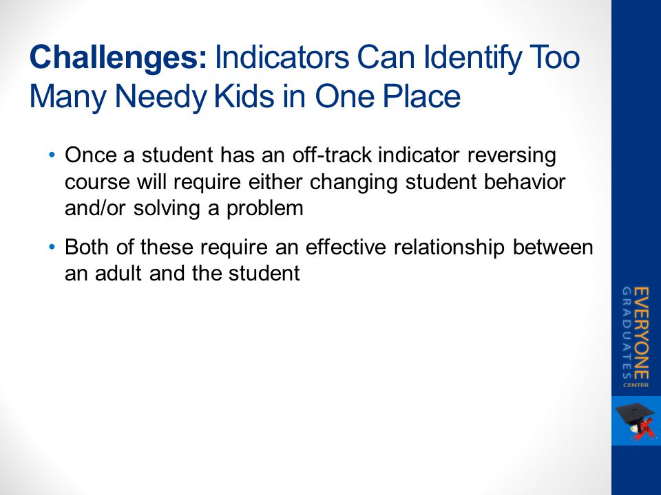 Challenges: Indicators Can Identify Too Many Needy Kids in One Place Once a student has an off-track indicator reversing course will require either ch