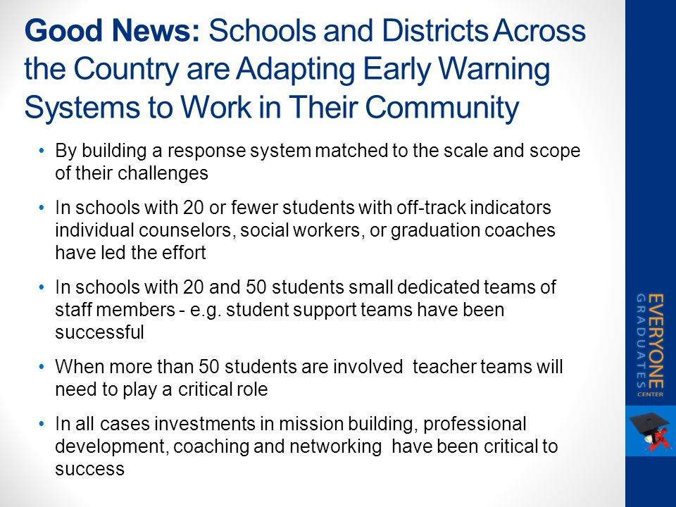Good News: Schools and Districts Across the Country are Adapting Early Warning Systems to Work in Their Community By building a response system matche