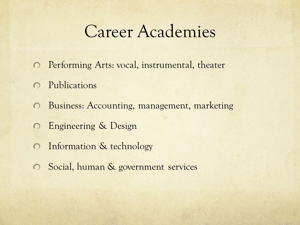 Career Academies Performing Arts: vocal, instrumental, theater Publications Business: Accounting, management, marketing Engineering & Design Information & technology Social, human & government services