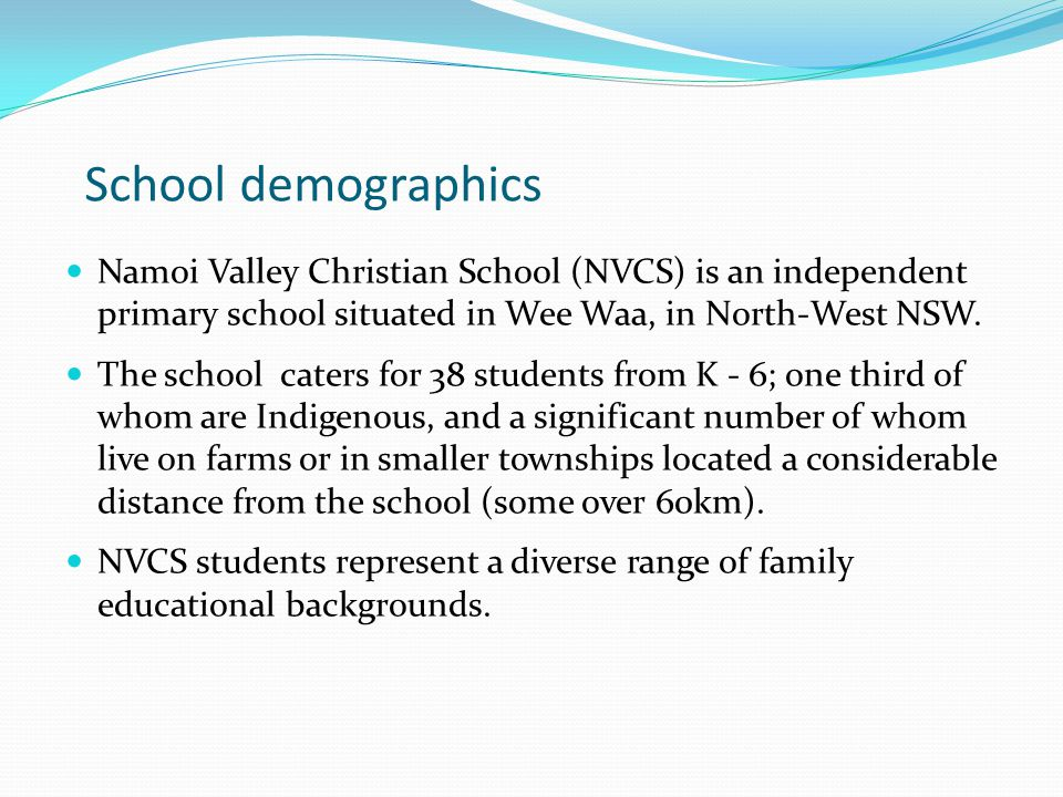 School demographics Namoi Valley Christian School (NVCS) is an independent primary school situated in Wee Waa, in North-West NSW.