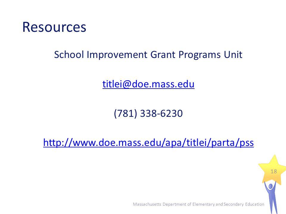 Resources School Improvement Grant Programs Unit titlei@doe.mass.edu (781) 338-6230 http://www.doe.mass.edu/apa/titlei/parta/pss 18 Massachusetts Department of Elementary and Secondary Education