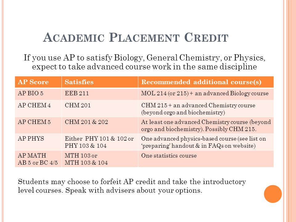 A CADEMIC P LACEMENT C REDIT If you use AP to satisfy Biology, General Chemistry, or Physics, expect to take advanced course work in the same discipli