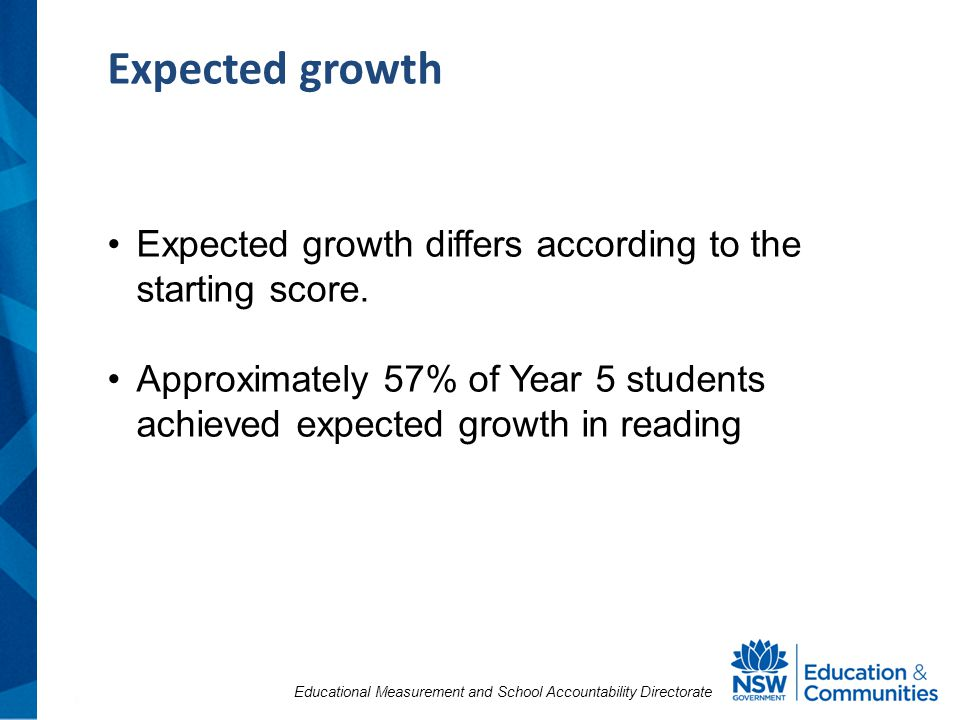 Educational Measurement and School Accountability Directorate Expected growth Expected growth differs according to the starting score.