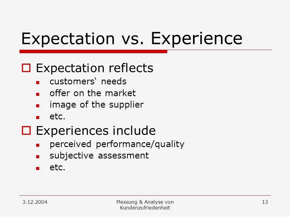 3.12.2004Messung & Analyse von Kundenzufriedenheit 13 Expectation vs.