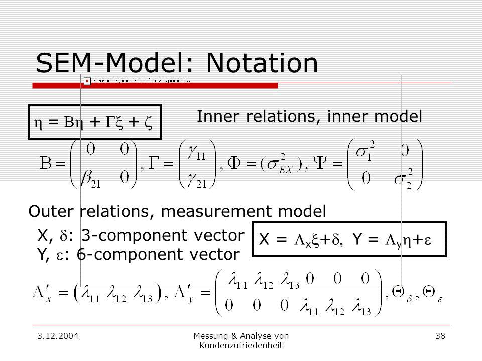 3.12.2004Messung & Analyse von Kundenzufriedenheit 38 SEM-Model: Notation =++ X =  x +Y=  y + X, : 3-component vector Y, : 6-component vector Inner relations, inner model Outer relations, measurement model