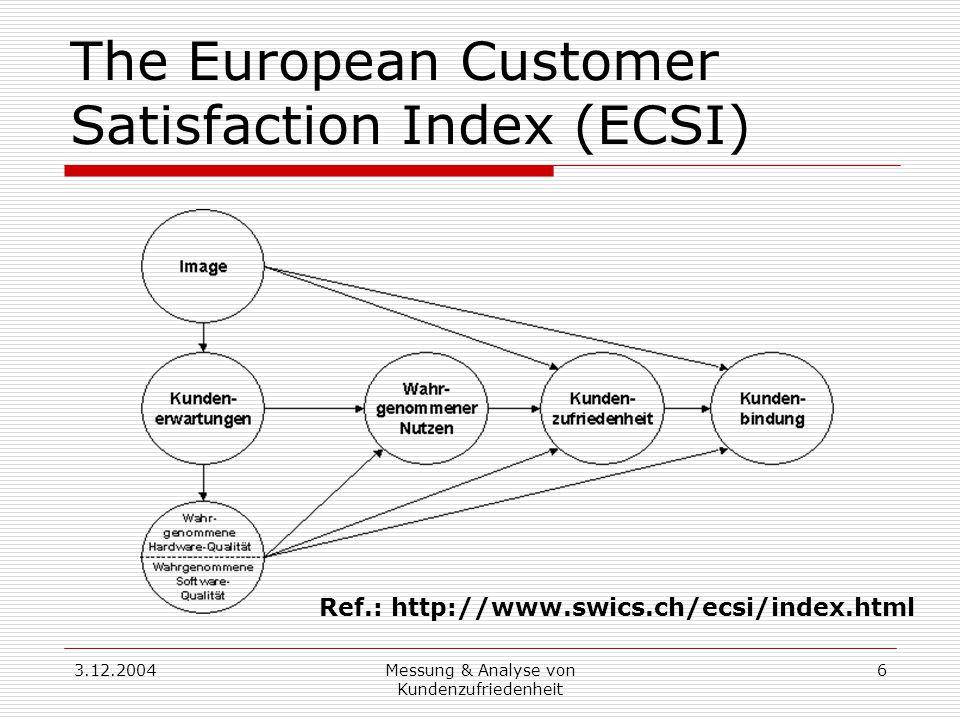 3.12.2004Messung & Analyse von Kundenzufriedenheit 6 The European Customer Satisfaction Index (ECSI) Ref.: http://www.swics.ch/ecsi/index.html