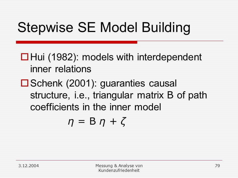 3.12.2004Messung & Analyse von Kundenzufriedenheit 79 Stepwise SE Model Building  Hui (1982): models with interdependent inner relations  Schenk (2001): guaranties causal structure, i.e., triangular matrix B of path coefficients in the inner model η = B η + ζ