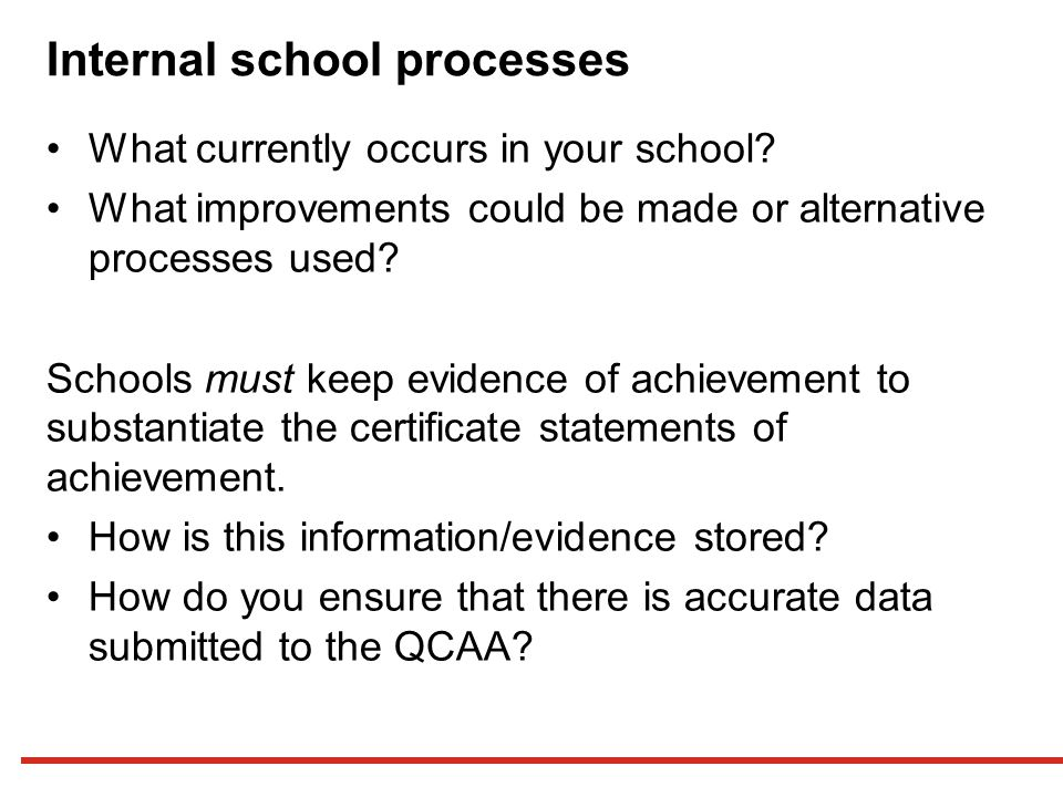 Internal school processes What currently occurs in your school.