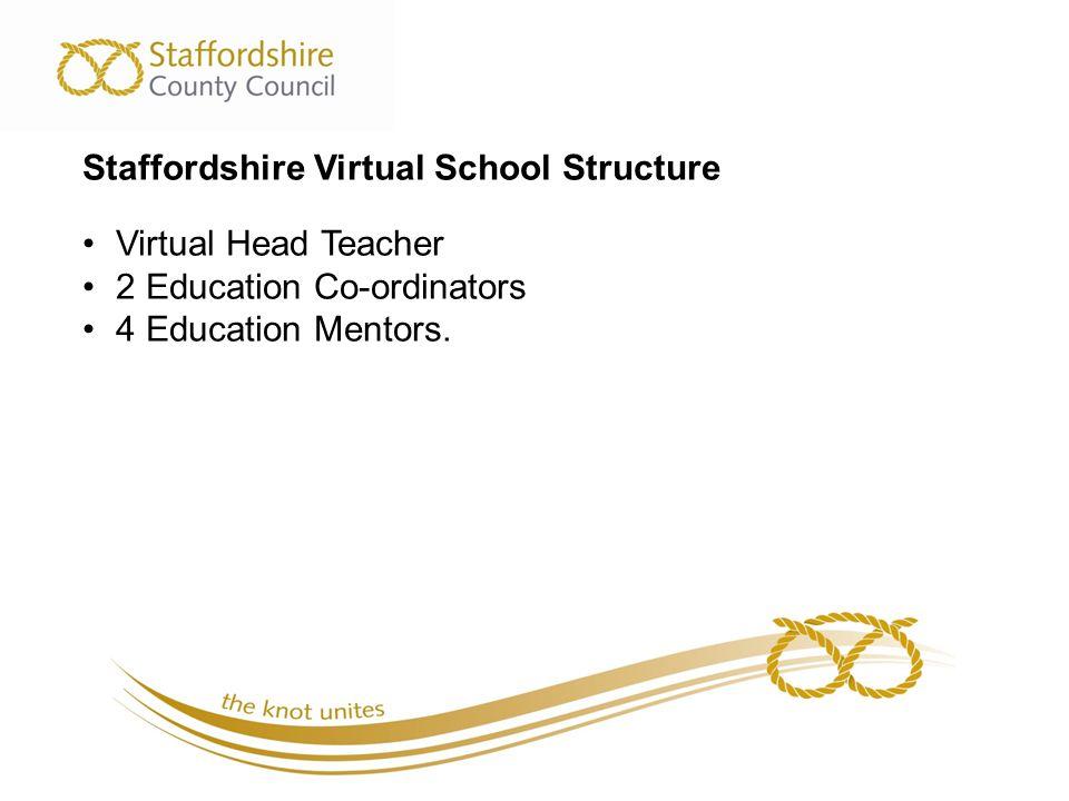 Staffordshire Virtual School Structure Virtual Head Teacher 2 Education Co-ordinators 4 Education Mentors.