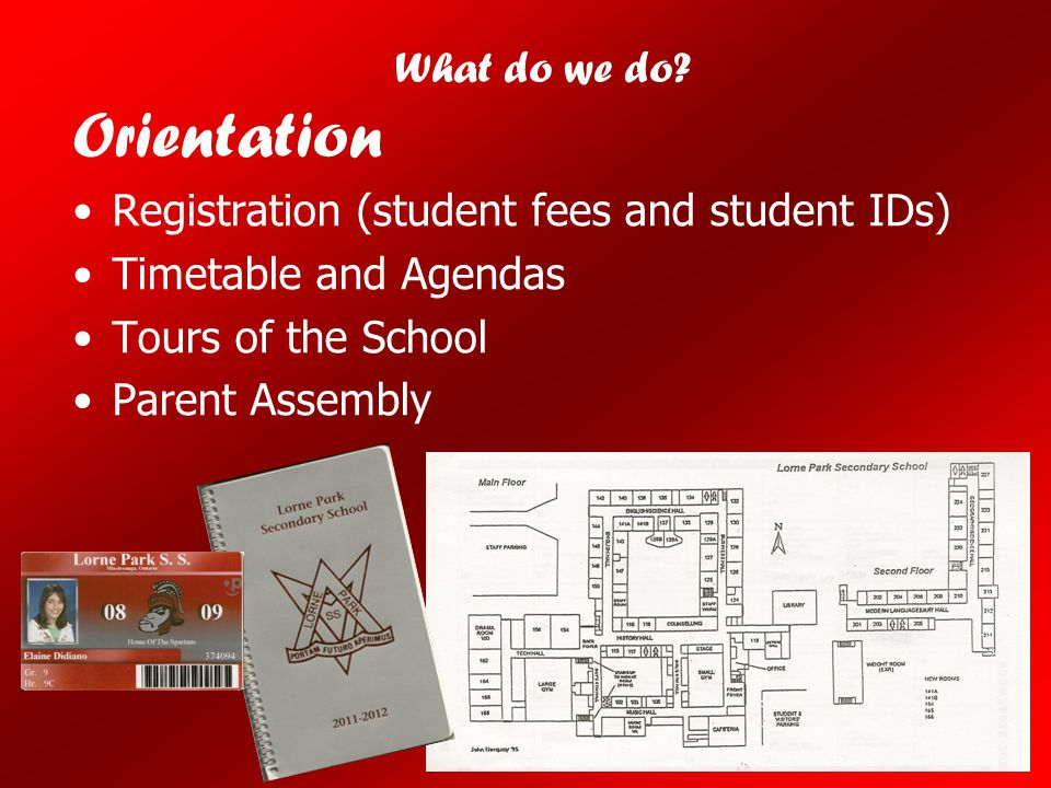 Orientation Registration (student fees and student IDs) Timetable and Agendas Tours of the School Parent Assembly What do we do?