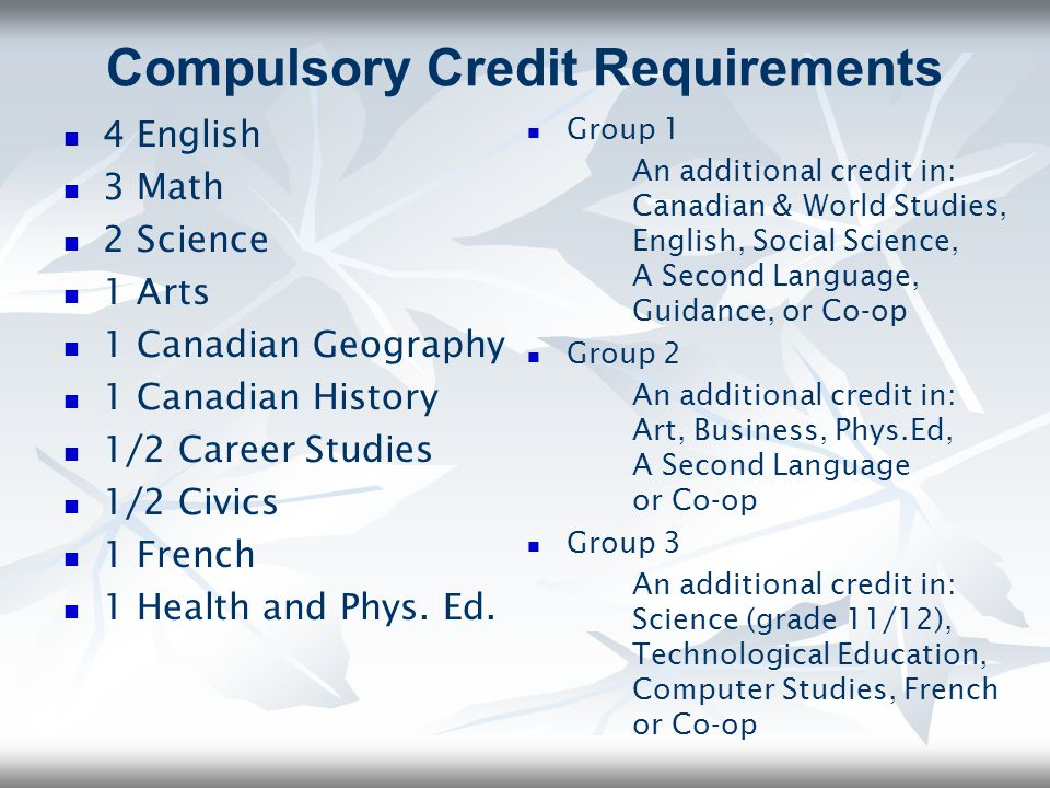 Compulsory Credit Requirements 4 English 3 Math 2 Science 1 Arts 1 Canadian Geography 1 Canadian History 1/2 Career Studies 1/2 Civics 1 French 1 Heal