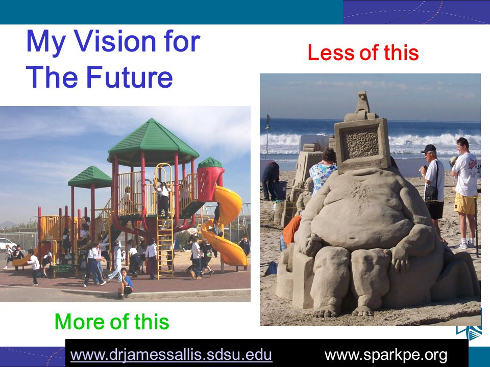 www.activelivingresearch.org More of this Less of this My Vision for The Future www.drjamessallis.sdsu.eduwww.drjamessallis.sdsu.edu www.sparkpe.org