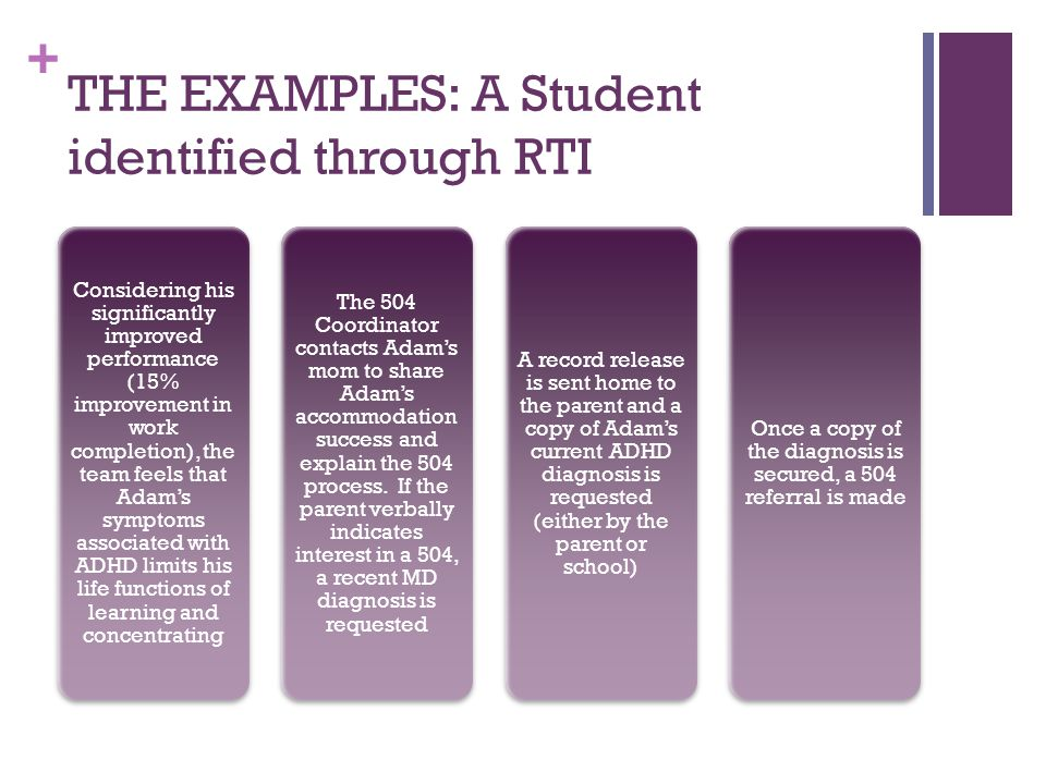 + THE EXAMPLES: A Student identified through RTI Considering his significantly improved performance (15% improvement in work completion), the team feels that Adam's symptoms associated with ADHD limits his life functions of learning and concentrating The 504 Coordinator contacts Adam's mom to share Adam's accommodation success and explain the 504 process.