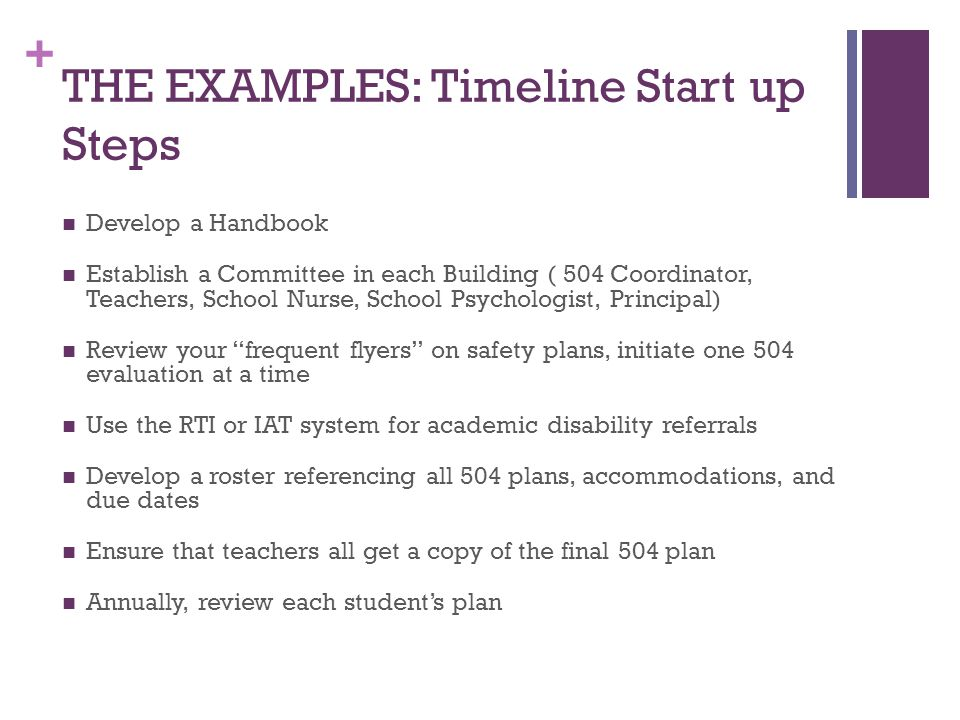 + THE EXAMPLES: Timeline Start up Steps Develop a Handbook Establish a Committee in each Building ( 504 Coordinator, Teachers, School Nurse, School Psychologist, Principal) Review your frequent flyers on safety plans, initiate one 504 evaluation at a time Use the RTI or IAT system for academic disability referrals Develop a roster referencing all 504 plans, accommodations, and due dates Ensure that teachers all get a copy of the final 504 plan Annually, review each student's plan
