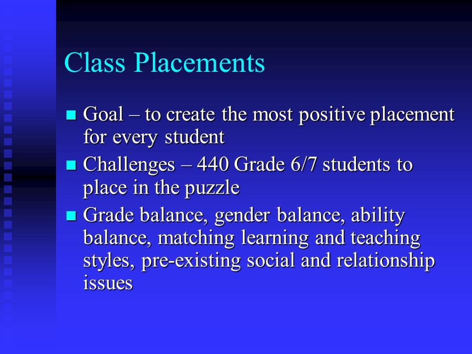 Class Placements Goal – to create the most positive placement for every student Goal – to create the most positive placement for every student Challen