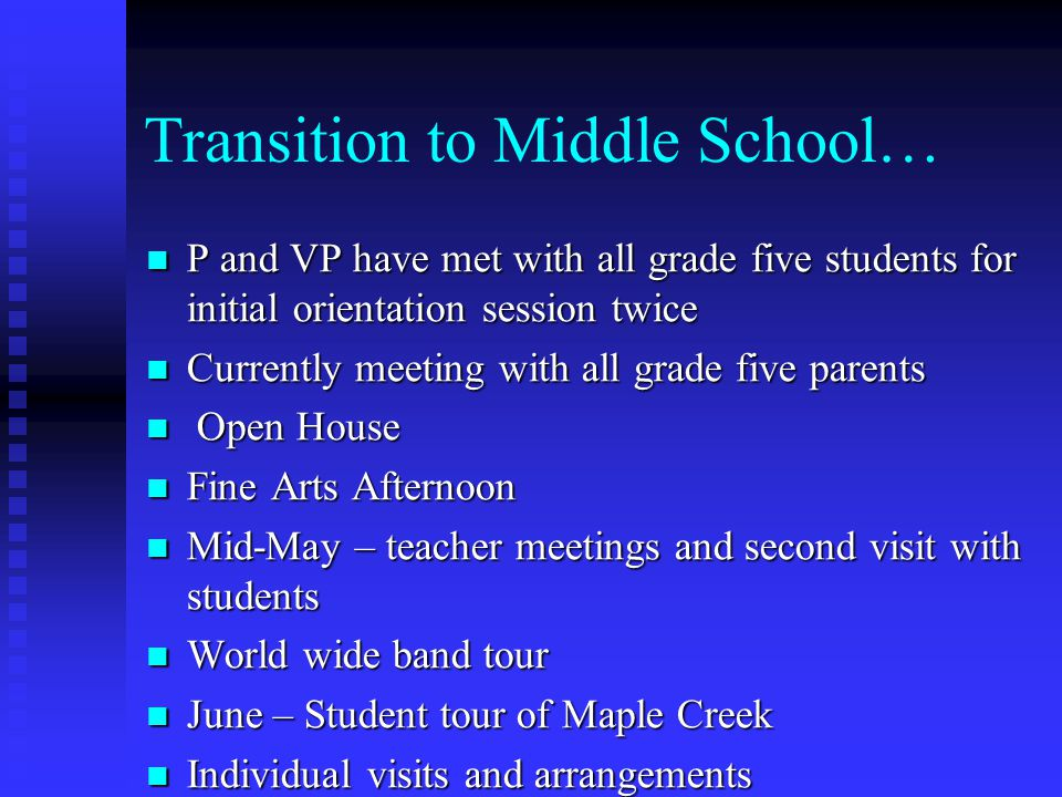Transition to Middle School… P and VP have met with all grade five students for initial orientation session twice P and VP have met with all grade fiv