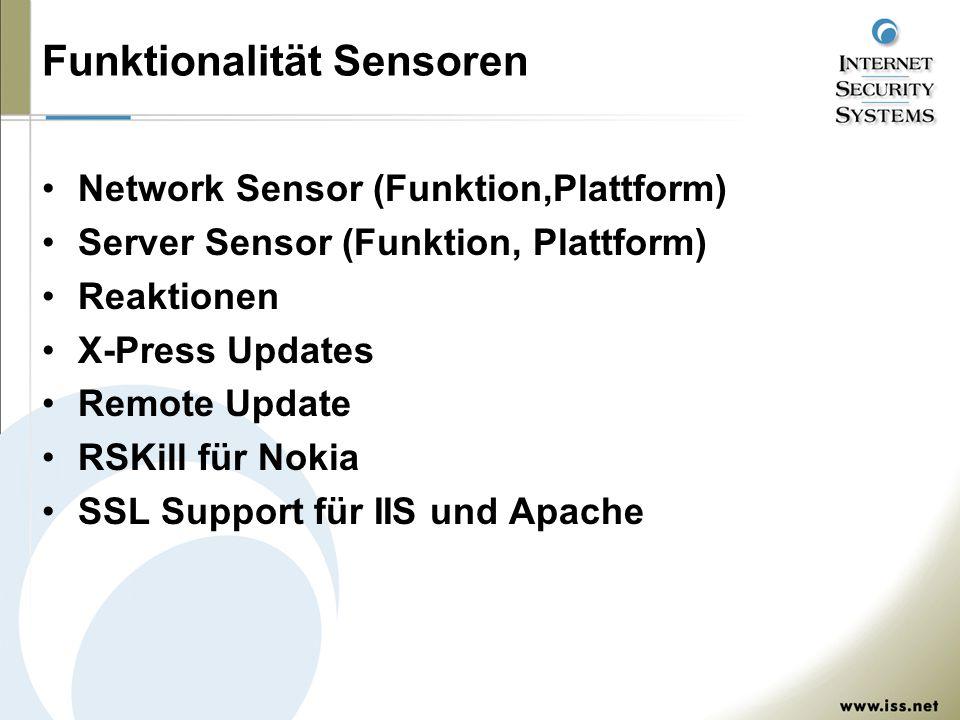 Funktionalität Sensoren Network Sensor (Funktion,Plattform) Server Sensor (Funktion, Plattform) Reaktionen X-Press Updates Remote Update RSKill für Nokia SSL Support für IIS und Apache