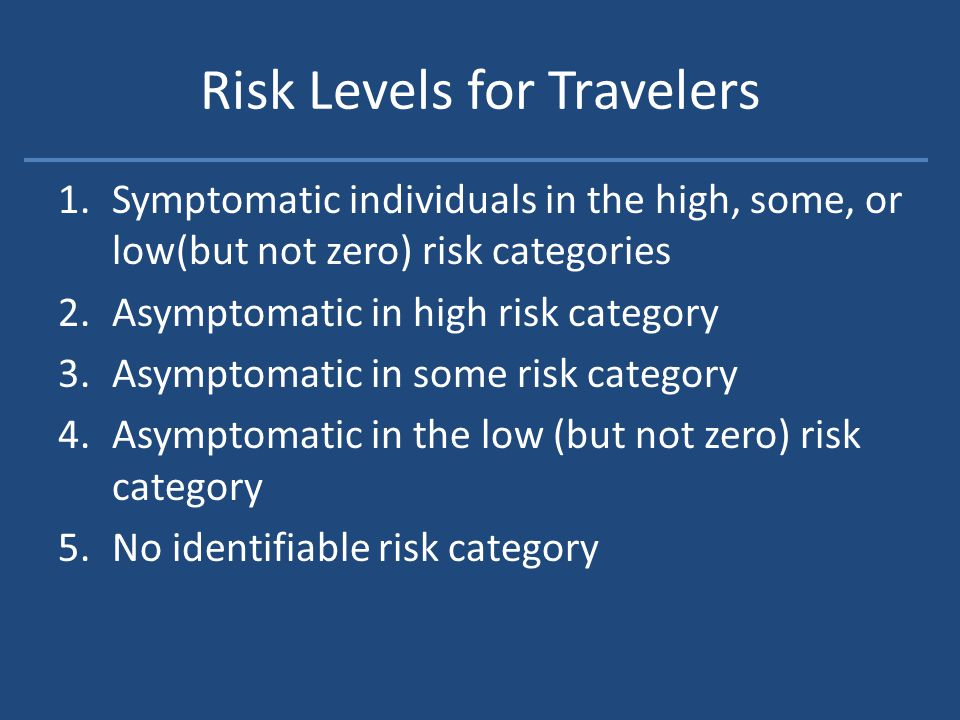 Risk Levels for Travelers 1.Symptomatic individuals in the high, some, or low(but not zero) risk categories 2.Asymptomatic in high risk category 3.Asymptomatic in some risk category 4.Asymptomatic in the low (but not zero) risk category 5.No identifiable risk category