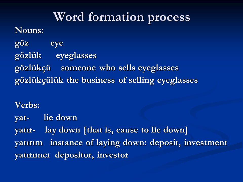 Word formation process Nouns: göz eye gözlük eyeglasses gözlükçü someone who sells eyeglasses gözlükçülük the business of selling eyeglasses Verbs: ya