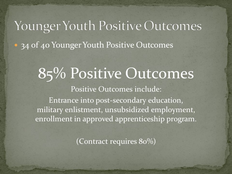34 of 40 Younger Youth Positive Outcomes 85% Positive Outcomes Positive Outcomes include: Entrance into post-secondary education, military enlistment, unsubsidized employment, enrollment in approved apprenticeship program.
