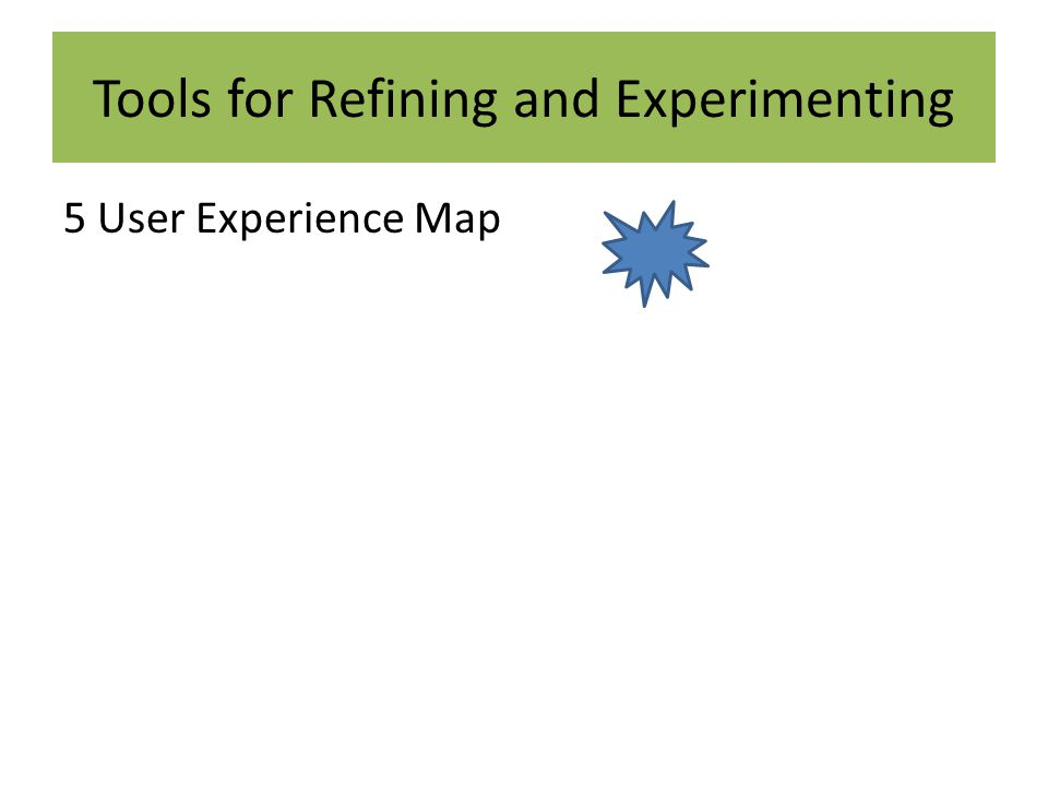 Tools for Refining and Experimenting 5 User Experience Map