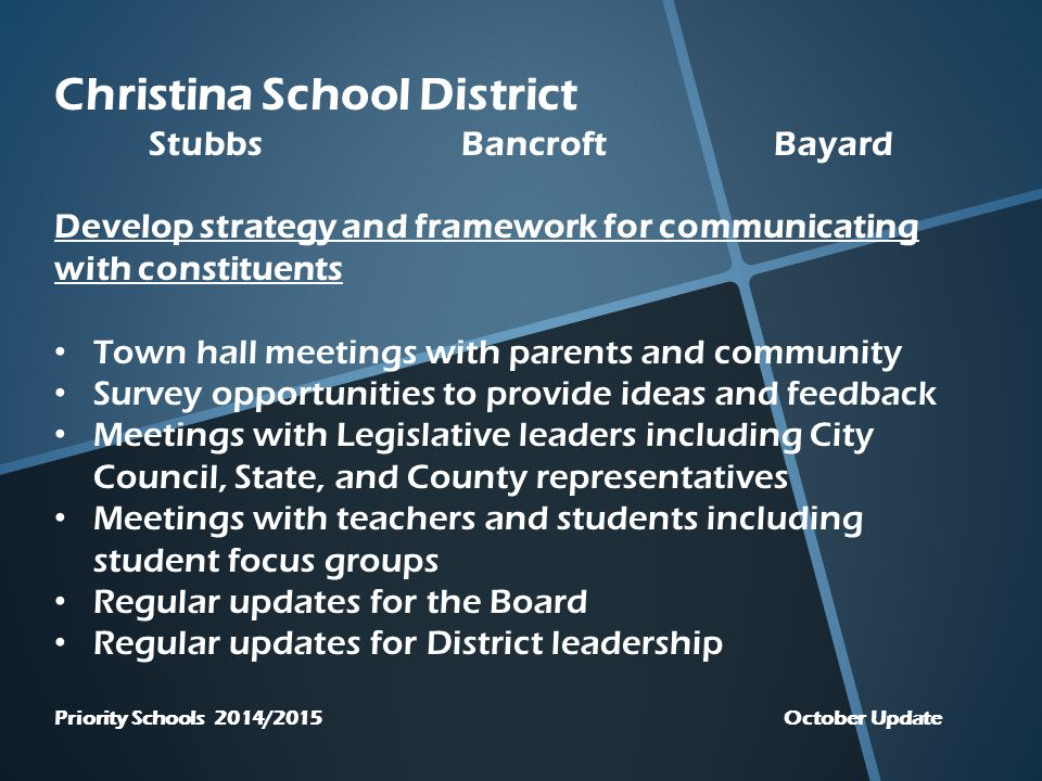 Christina School District StubbsBancroftBayard Develop strategy and framework for communicating with constituents Town hall meetings with parents and community Survey opportunities to provide ideas and feedback Meetings with Legislative leaders including City Council, State, and County representatives Meetings with teachers and students including student focus groups Regular updates for the Board Regular updates for District leadership Priority Schools 2014/2015 October Update