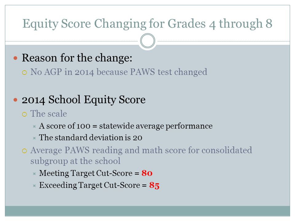 Equity Score Changing for Grades 4 through 8 Reason for the change:  No AGP in 2014 because PAWS test changed 2014 School Equity Score  The scale  A score of 100 = statewide average performance  The standard deviation is 20  Average PAWS reading and math score for consolidated subgroup at the school  Meeting Target Cut-Score = 80  Exceeding Target Cut-Score = 85