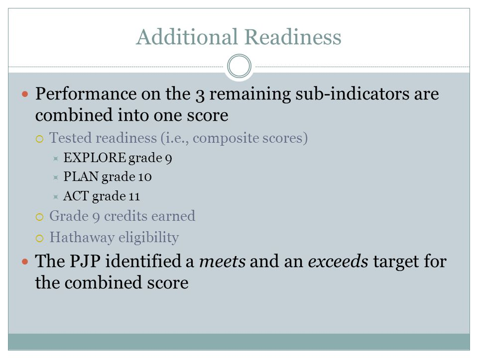 Additional Readiness Performance on the 3 remaining sub-indicators are combined into one score  Tested readiness (i.e., composite scores)  EXPLORE grade 9  PLAN grade 10  ACT grade 11  Grade 9 credits earned  Hathaway eligibility The PJP identified a meets and an exceeds target for the combined score