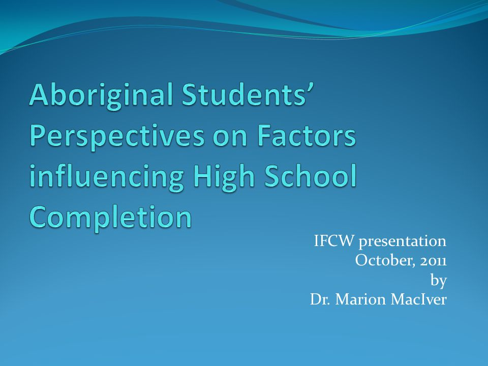 IFCW presentation October, 2011 by Dr. Marion MacIver