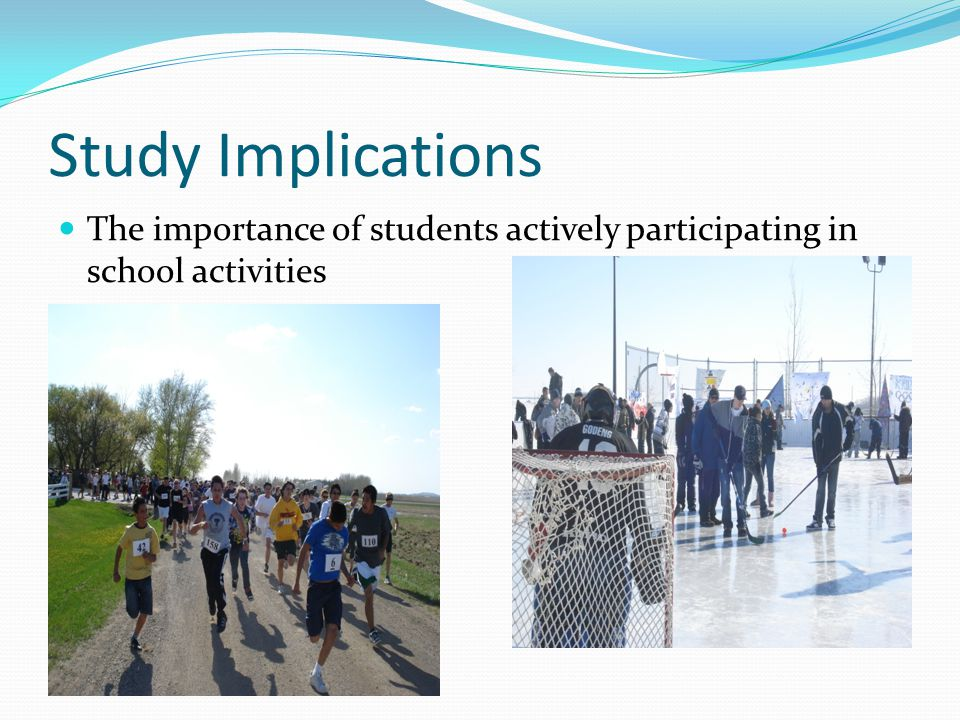 Study Implications The importance of students actively participating in school activities