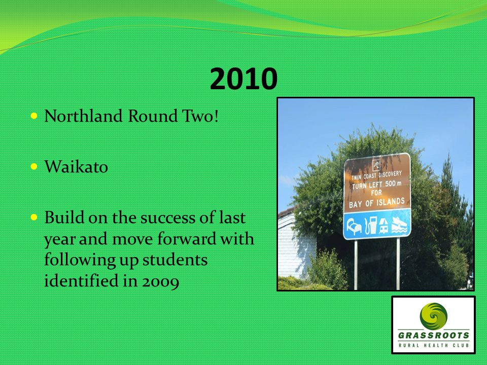 2010 Northland Round Two! Waikato Build on the success of last year and move forward with following up students identified in 2009