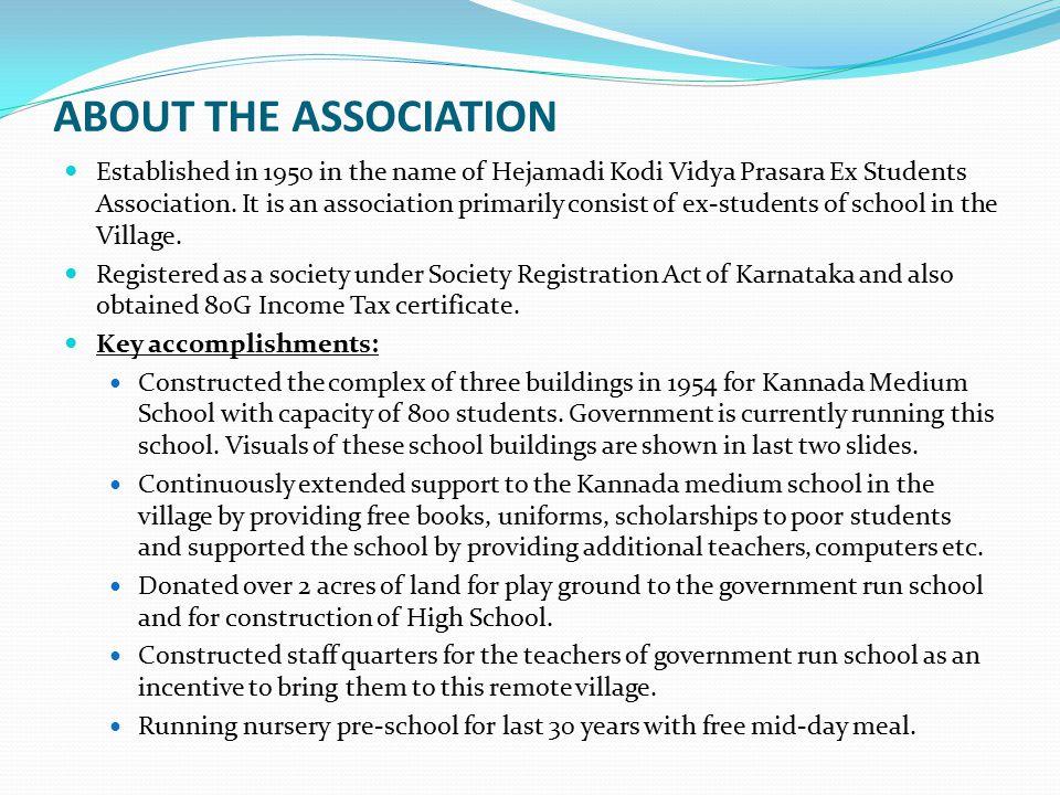 ABOUT THE ASSOCIATION Established in 1950 in the name of Hejamadi Kodi Vidya Prasara Ex Students Association. It is an association primarily consist o