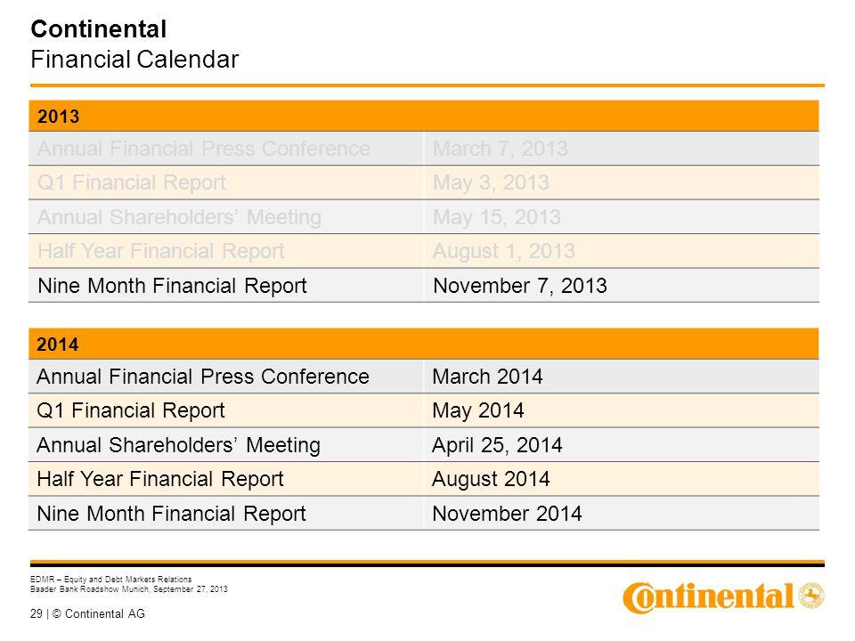 29 | © Continental AG EDMR – Equity and Debt Markets Relations Baader Bank Roadshow Munich, September 27, 2013 Continental Financial Calendar 2013 Ann