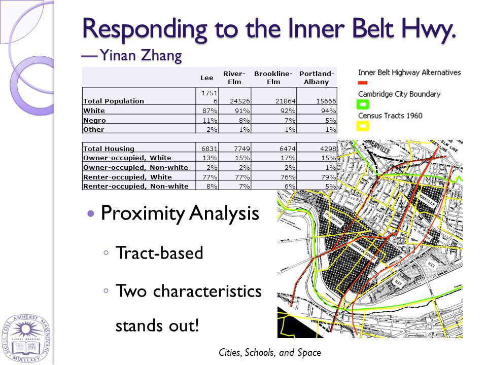 Cities, Schools, and Space Responding to the Inner Belt Hwy. — Yinan Zhang Proximity Analysis ◦ Tract-based ◦ Two characteristics stands out! Lee Rive
